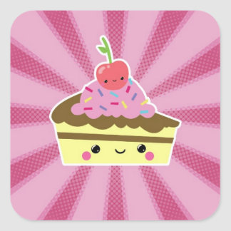 Slice of Kawaii Cake with a Cherry on Top Square Sticker