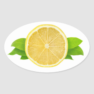 Slice of lemon with leaves oval sticker