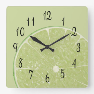 Slice of Lime Square Wall Clock