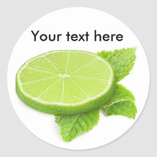 Slice of lime with mint leaf classic round sticker