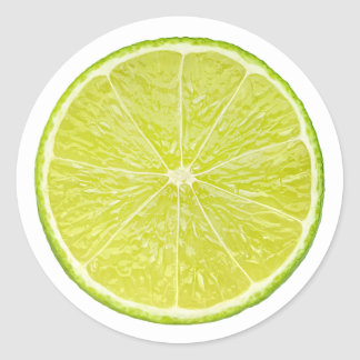 Slice of lime with mint leaf round sticker