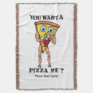 Slice of Pizza Wearing Boxing Gloves Throw Blanket