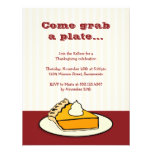 Slice of pumpkin pie on plate Thanksgiving dinner Personalized Invitations