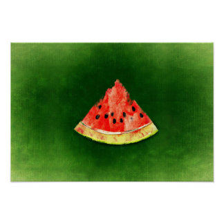 Slice of watermelon on green background poster