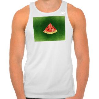 Slice of watermelon on green background singlet