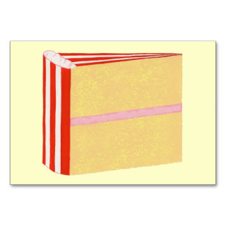 Slice of yellow layer cake custom flashcards table card