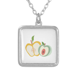 Sliced Apples Square Pendant Necklace