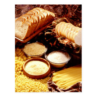 Sliced bread, flour, rice, and different pasta postcard