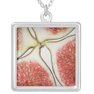 Sliced figs, close-up square pendant necklace