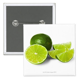 Sliced lime wedge, on white background, cut out 15 cm square badge