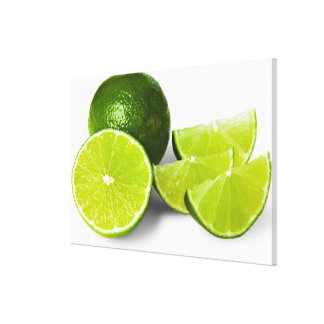 Sliced lime wedge, on white background, cut out canvas print