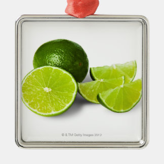 Sliced lime wedge, on white background, cut out metal ornament