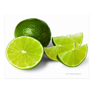 Sliced lime wedge, on white background, cut out postcard