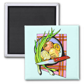 Sliced Onions and Potatoes Square Magnet