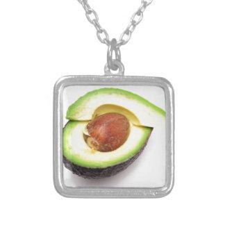 Sliced Open Avocado Square Pendant Necklace