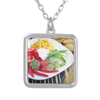 Slices of fresh raw vegetables silver plated necklace