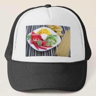Slices of fresh raw vegetables trucker hat