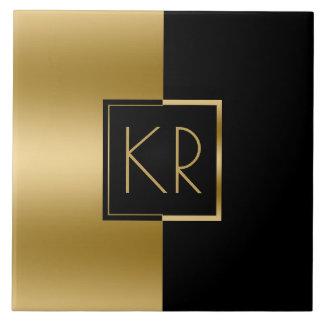 Slick Geometric Gold & Black Modern Design Tile