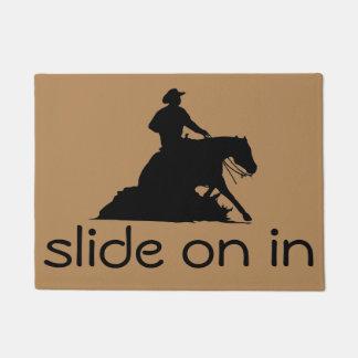 Slide On In Reining Horse and Western Cowboy Doormat