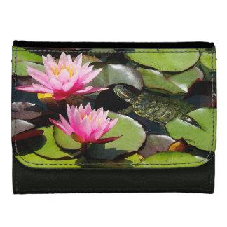 Slider Turtle Waterlily Flowers Pond Wildlife Women's Wallet