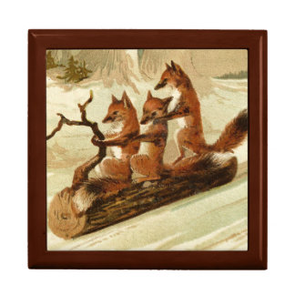Sliding Foxes Wooden Keepsake Box