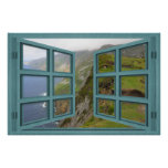 Slieve League Cliffs 6 Pane Open Window Poster