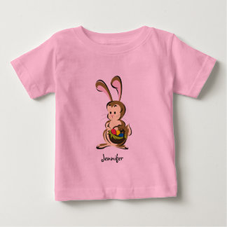 Slightly bemused Easter Bunny and basket of eggs Tee Shirts