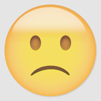 Slightly Frowning Face Emoji Round Sticker