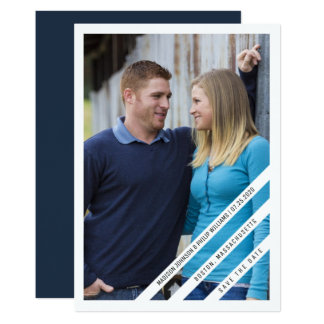 Slightly Slanted Photo Save the Date | White Card