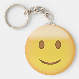 Slightly Smiling Face Emoji Basic Round Button Key Ring