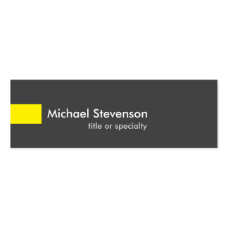 Slim Grey Yellow Unique Consultant Double-Sided Mini Business Cards (Pack Of 20)