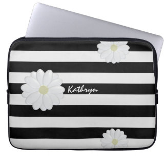 Slim Striped Laptop Sleeve with Daisies and Name