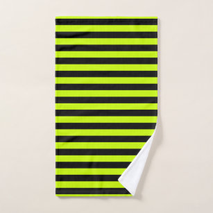 Slime Green and Black Horizontal Witch Stripes Hand Towel
