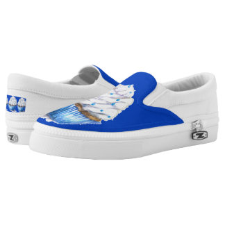 Slip on Shoes, Fun blue Velvet Cupcake Painting Printed Shoes