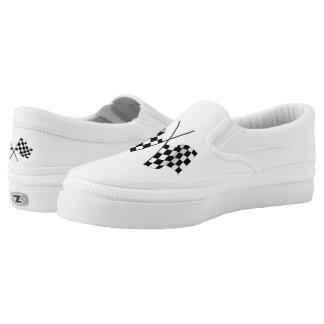 Slip On Shoes/Racing Flags Printed Shoes