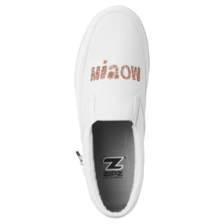 Slip on shoes with 'miaow' printed shoes