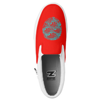 Slip-on sneakers red blue wave design