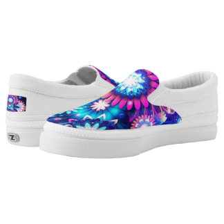 Slip On Sneakers with Pink & Blue Design on Toe