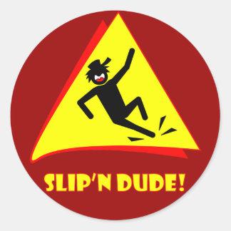 SLIP'N DUDE 4 CLASSIC ROUND STICKER
