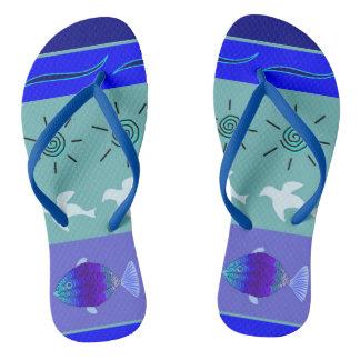 Slipper beach sea blue nature thongs