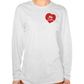 Slippery Love Sign ladies heart t-shirt