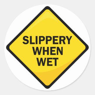 Slippery When Wet Classic Round Sticker