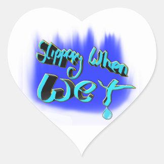 slippery when wet heart sticker