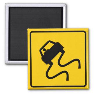 Slippery When Wet Highway Sign Magnet