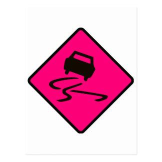 Slippery When Wet Road Traffic sign Australia Car Postcard