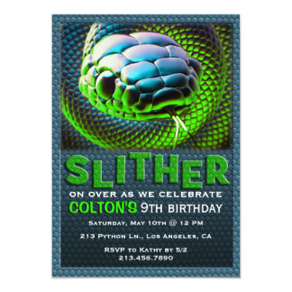Slither Snake Green Reptile Birthday Invitation