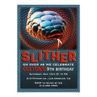 Slither Snake Reptile Birthday Party Invitation