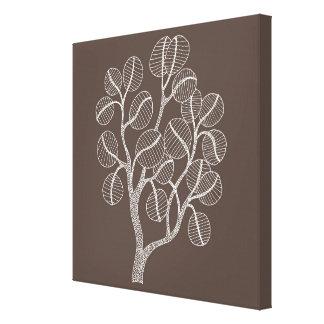 Sliver Leaf Tree - Digital Illustration Stretched Canvas Print