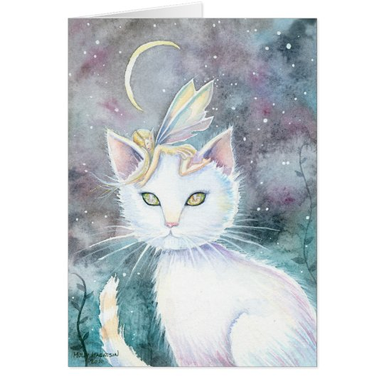 Sliver Moon Cat and Fairy Watercolor Card