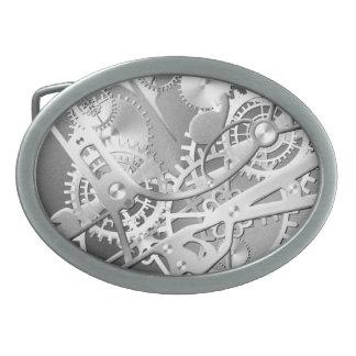 Sliver steampunk watch gears oval belt buckle